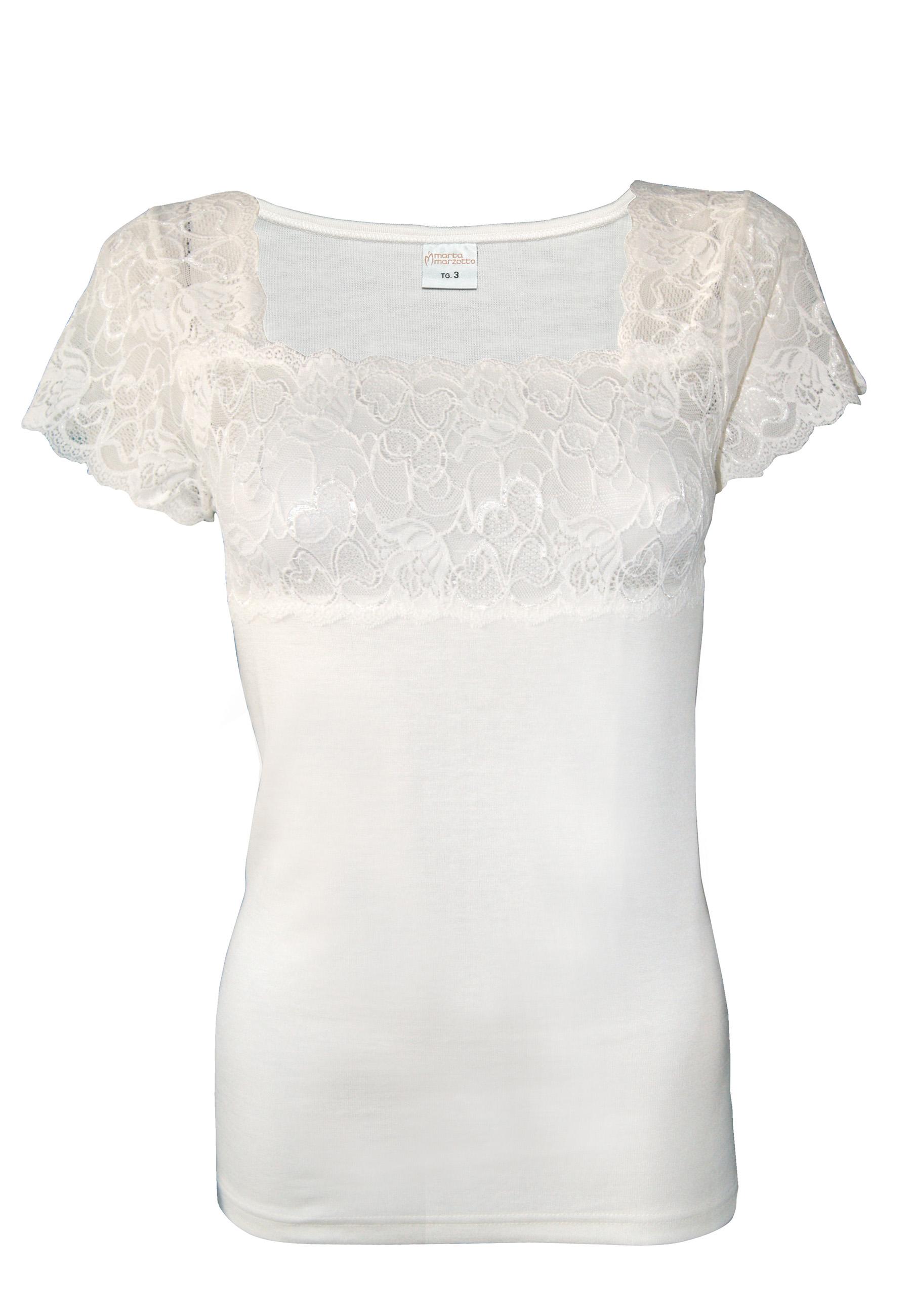 19bc4bb013e Ισοθερμική γυναικεία μπλούζα-φανέλλα με δαντέλα Κοντό μανίκι Μαλλί βαμβάκΙ  Λευκό ...