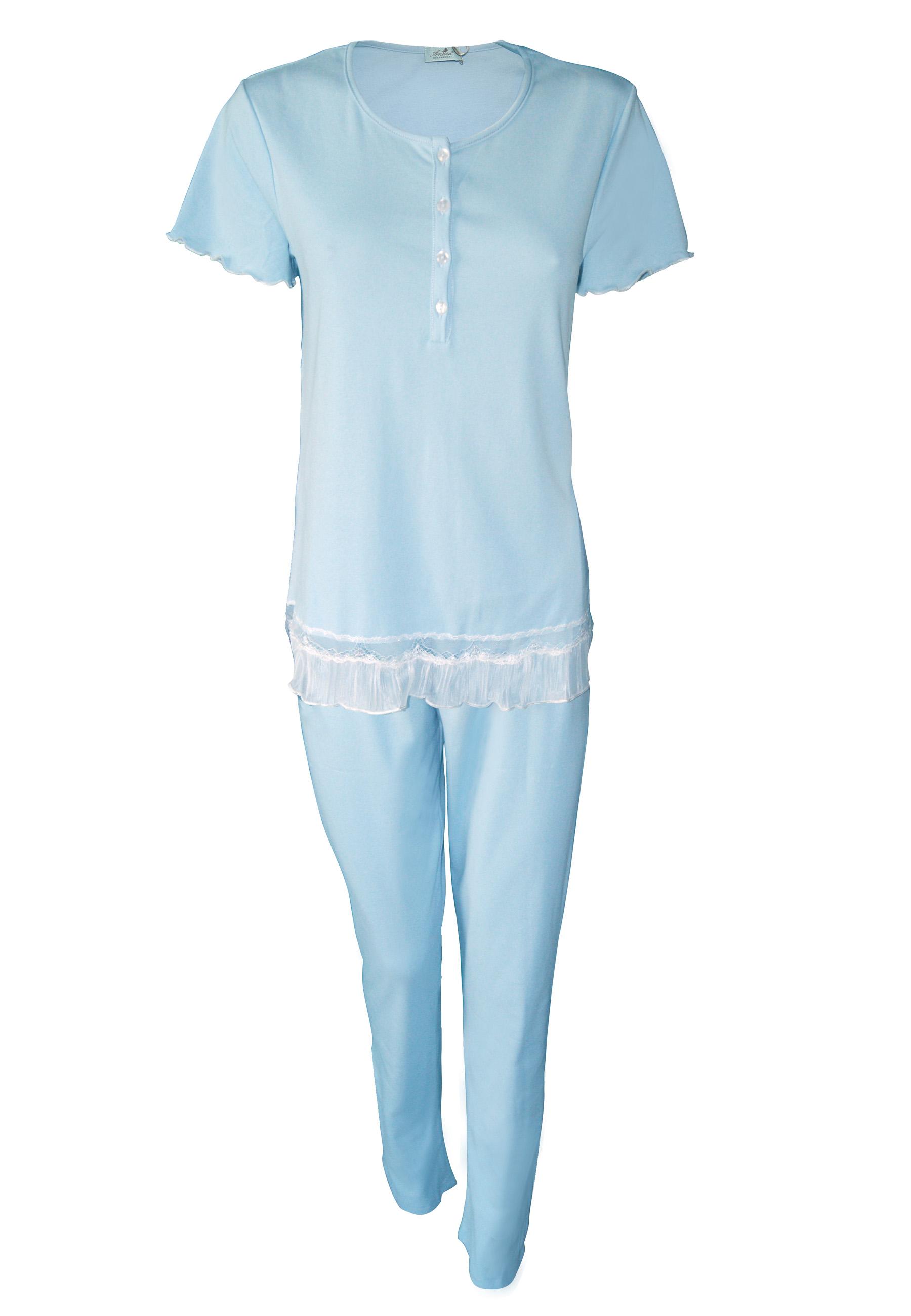ea27fd4f562 Γυναικεία καλοκαιρινή πυτζάμα με κοντό μανίκι και μακρύ παντελόνι γαλάζιο  made in ...